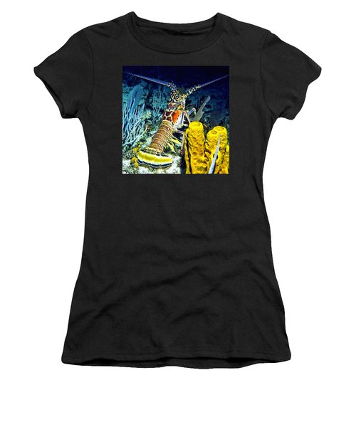 Women's T-Shirt (Junior Cut) featuring the photograph Caribbean Reef Lobster by Amy McDaniel