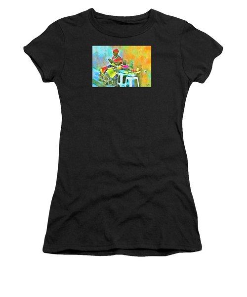 Caribbean Scenes - De Fruit Lady Women's T-Shirt (Athletic Fit)