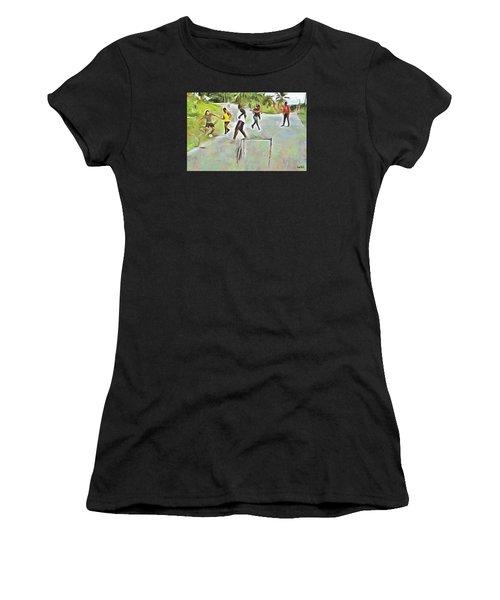 Caribbean Scenes - Small Goal In De Street Women's T-Shirt (Athletic Fit)