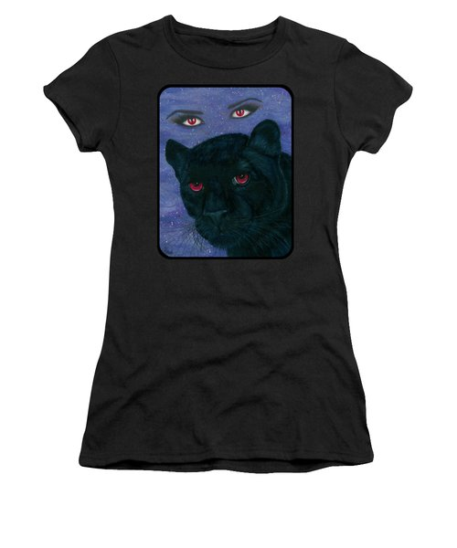 Women's T-Shirt (Athletic Fit) featuring the painting Carmilla - Black Panther Vampire by Carrie Hawks