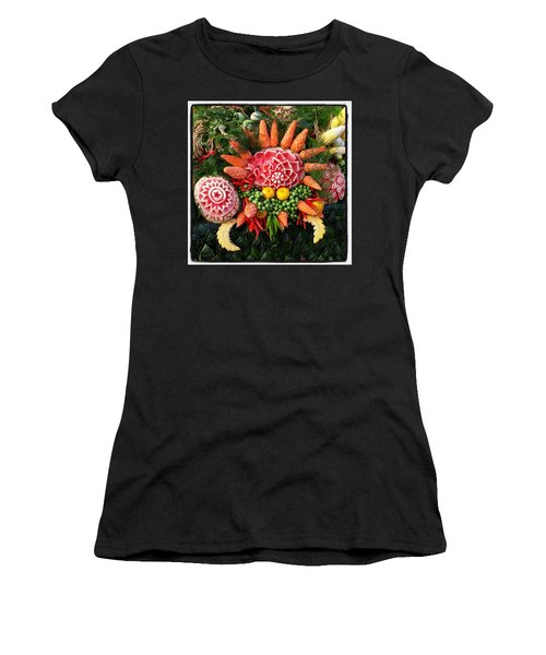 Women's T-Shirt featuring the photograph Carved Watermelon, And I Think Those by Mr Photojimsf