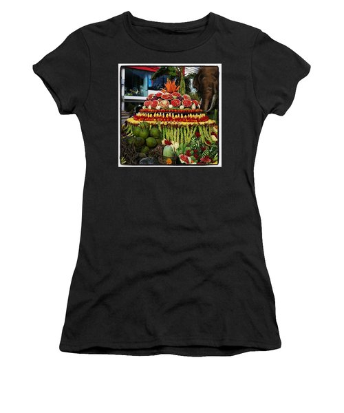 Women's T-Shirt featuring the photograph Carved Watermelon, Surin Elephant by Mr Photojimsf