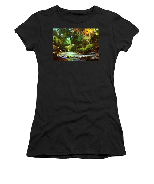 Cascades In Forest Women's T-Shirt (Athletic Fit)