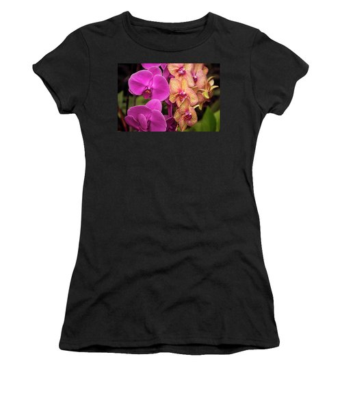 Women's T-Shirt featuring the photograph Cascading Orchids by Penny Lisowski