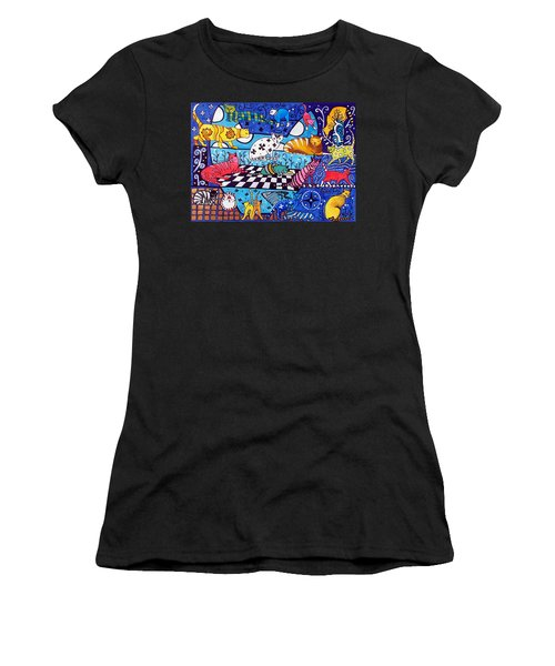 Cat Cocktail - Cat Art By Dora Hathazi Mendes Women's T-Shirt (Athletic Fit)