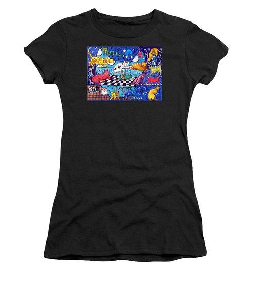 Cat Cocktail - Cat Art By Dora Hathazi Mendes Women's T-Shirt (Athletic Fit)
