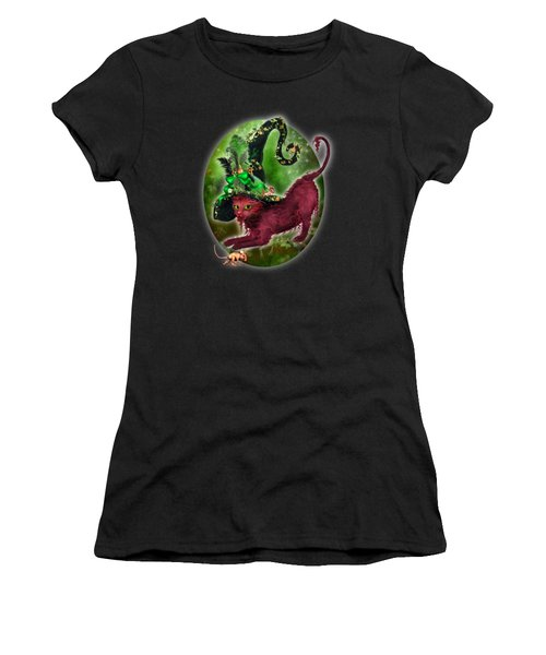 Cat In Fancy Witch Hat 2 Women's T-Shirt (Athletic Fit)