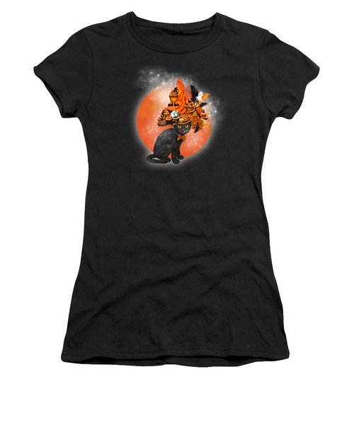 Cat In Halloween Cupcake Hat Women's T-Shirt (Athletic Fit)