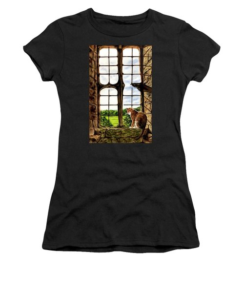 Cat In The Castle Window-close Up Women's T-Shirt (Athletic Fit)