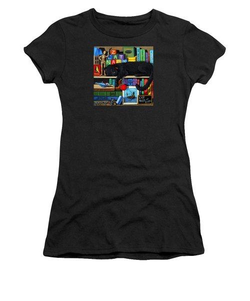 Cat Nap - Orginal Black Cat Painting Women's T-Shirt (Athletic Fit)