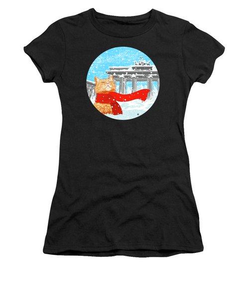 Cat With Scarf Women's T-Shirt (Junior Cut)