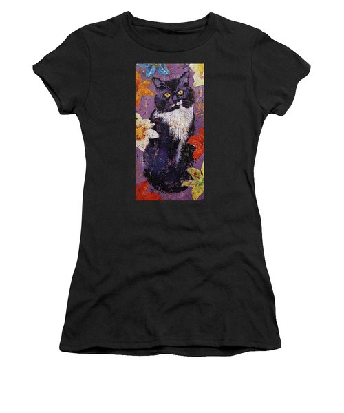 Cat With Tiger Lilies Women's T-Shirt
