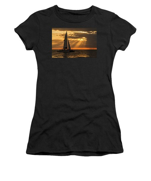 Women's T-Shirt (Athletic Fit) featuring the photograph Catamaran Sunset Cruise In Key West by Bob Slitzan
