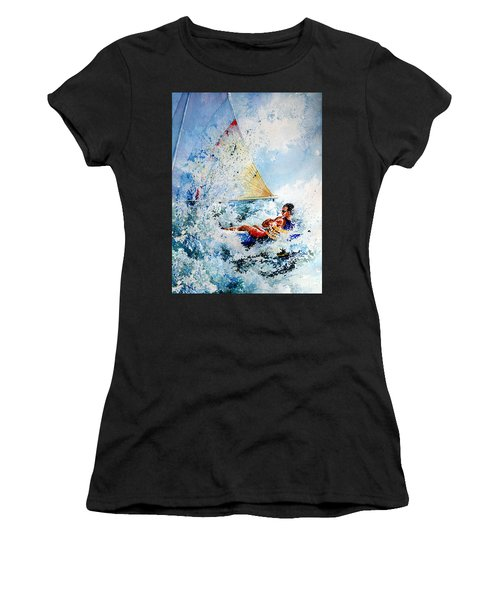 Women's T-Shirt (Athletic Fit) featuring the painting Catch The Wind by Hanne Lore Koehler