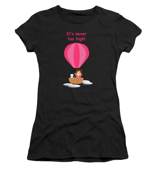 Cathy And The Cat - Hot Air Balloon Text Women's T-Shirt