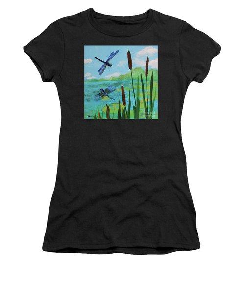 Cattails And Dragonflies Women's T-Shirt