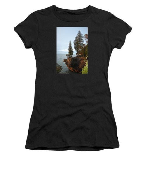 Cave Point Women's T-Shirt (Junior Cut) by Linda Goad