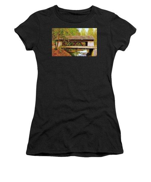 Cedar Creek Grist Mill Covered Bridge Women's T-Shirt (Athletic Fit)