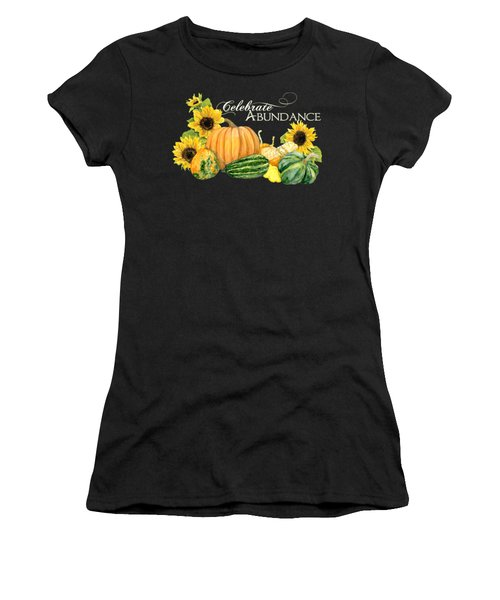 Celebrate Abundance - Harvest Fall Pumpkins Squash N Sunflowers Women's T-Shirt