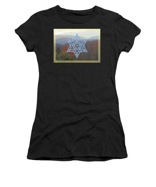 Celtic Hexagram Rose In Blue Women's T-Shirt (Athletic Fit)