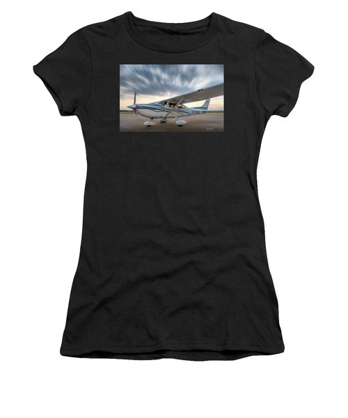 Cessna 182 On The Ramp Women's T-Shirt (Athletic Fit)