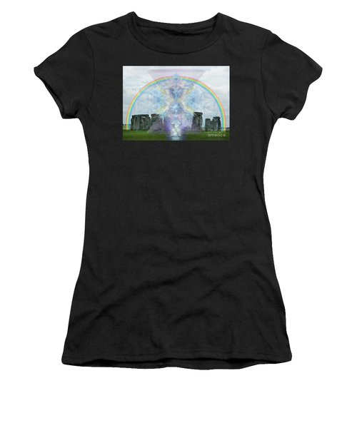 Chalice Over Stonehenge In Flower Of Life Women's T-Shirt