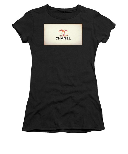 Women's T-Shirt featuring the mixed media Chanel Floral Texture  by Dan Sproul