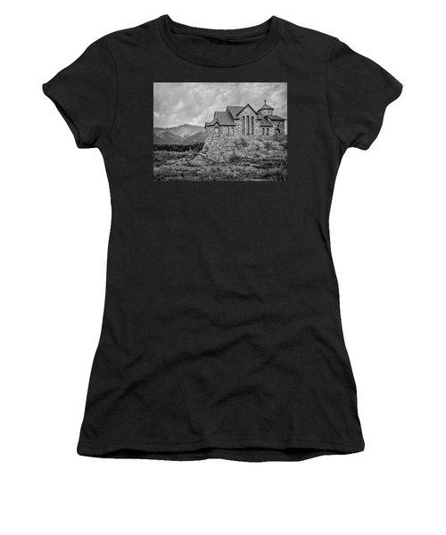 Women's T-Shirt featuring the photograph Chapel On The Rock - Black And White by James Woody