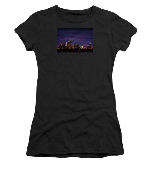 Women's T-Shirt (Junior Cut) featuring the photograph Charlotte, North Carolina Winter Sunset by Serge Skiba