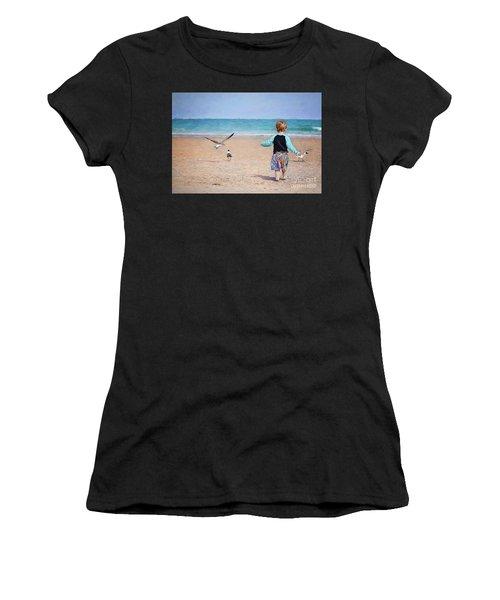Chasing Birds On The Beach Women's T-Shirt