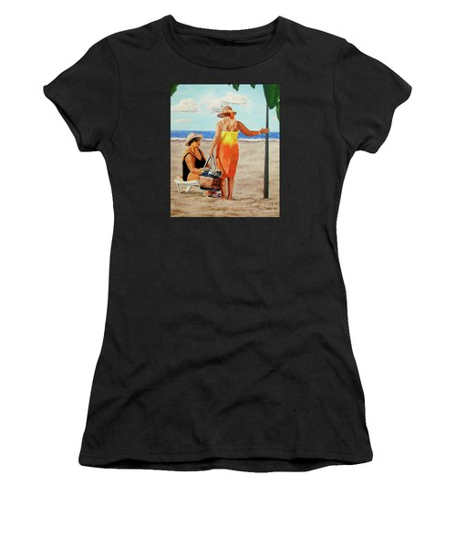 Chat On The Beach - Chat En La Playa Women's T-Shirt (Athletic Fit)