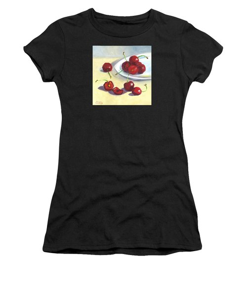 Cherries On A Plate Women's T-Shirt (Athletic Fit)