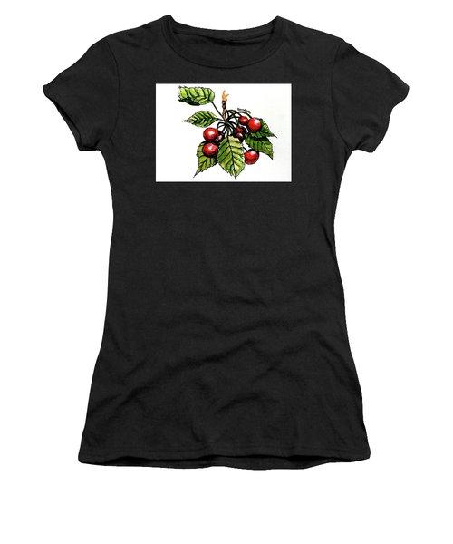 Cherries Women's T-Shirt (Junior Cut) by Terry Banderas