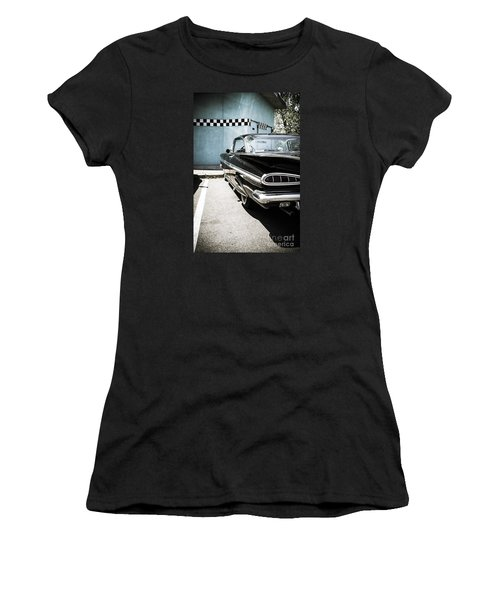 Chevrolet Impala In Front Of American Diner Women's T-Shirt (Athletic Fit)
