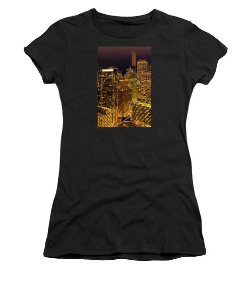 Chicago At Night Women's T-Shirt (Athletic Fit)