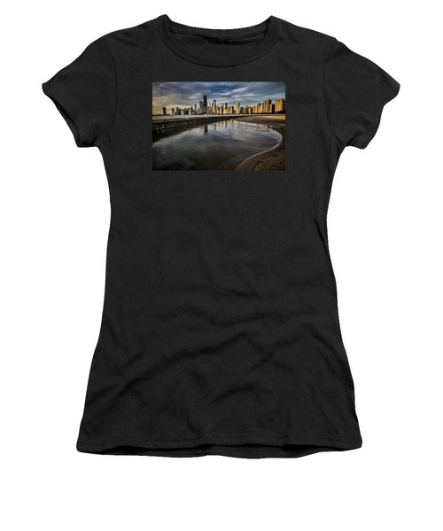Chicago Beach And Skyline With A Person For Scale Women's T-Shirt