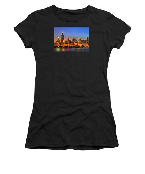Women's T-Shirt (Junior Cut) featuring the digital art Chicago Dusk by Charmaine Zoe