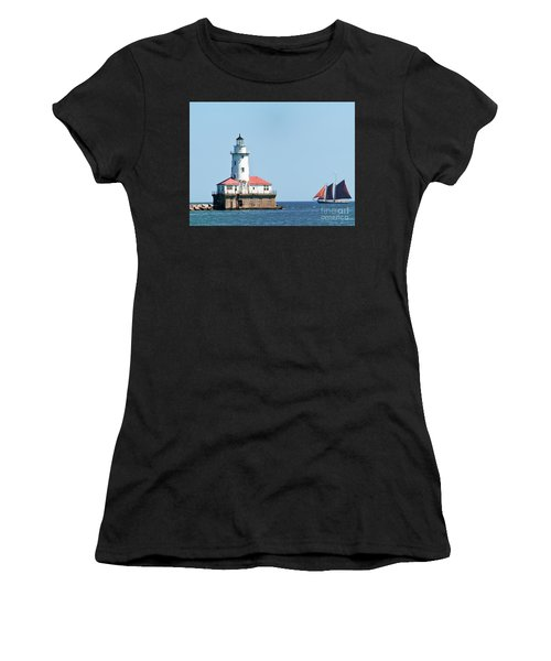 Chicago Harbor Lighthouse And A Tall Ship Women's T-Shirt
