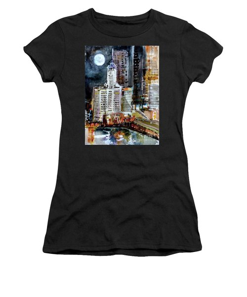 Chicago Night Wrigley Building Art Women's T-Shirt