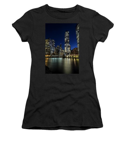 Chicago River And Skyline At Dusk  Women's T-Shirt (Athletic Fit)