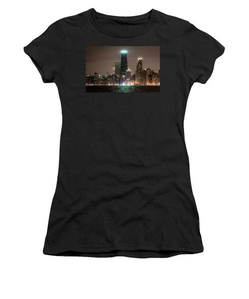 Chicago Skyline At Night North Ave Beach V2 Dsc1732 Women's T-Shirt (Athletic Fit)