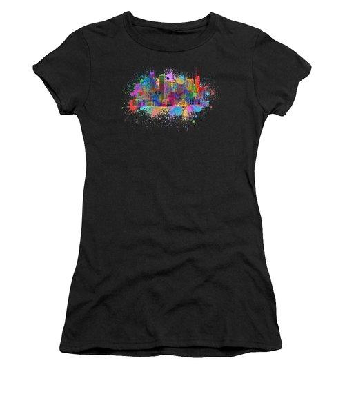 Chicago Skyline Paint Splatter Illustration Women's T-Shirt