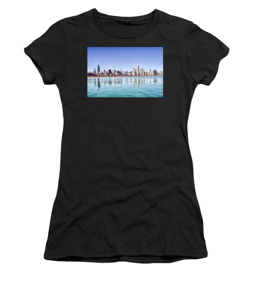 Chicago Skyline Reflecting In Lake Michigan Women's T-Shirt (Athletic Fit)