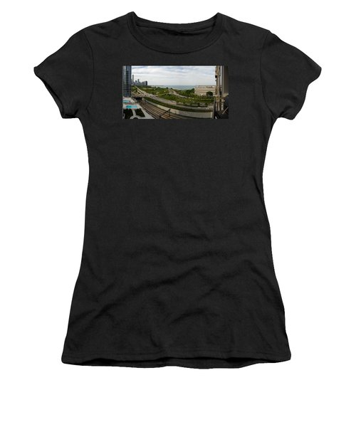 Chicago Skyline Showing Monroe Harbor Women's T-Shirt (Athletic Fit)