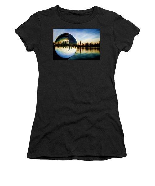 Chicago Skyline Though A Glass Ball Women's T-Shirt