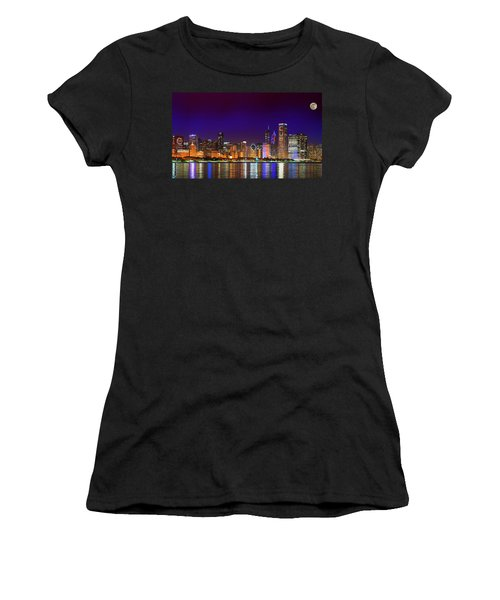Chicago Skyline With Cubs World Series Lights Night, Moonrise, Lake Michigan, Chicago, Illinois Women's T-Shirt (Athletic Fit)