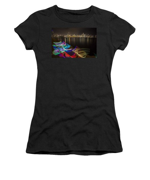 Chicago Skyline With Pixel Stick Painting Women's T-Shirt