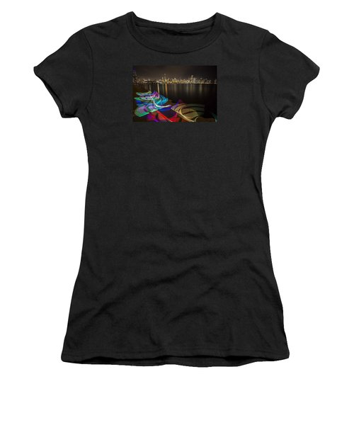 Chicago Skyline With Pixel Stick Painting Women's T-Shirt (Athletic Fit)