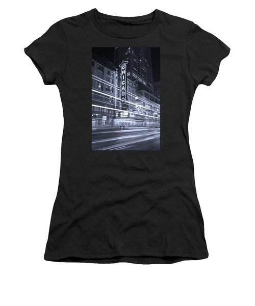 Chicago Theater Marquee B And W Women's T-Shirt