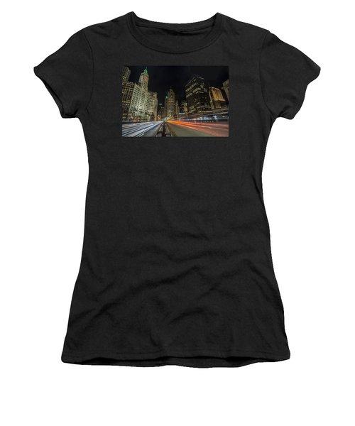 Chicago's Mag Mile Night Streaks Women's T-Shirt